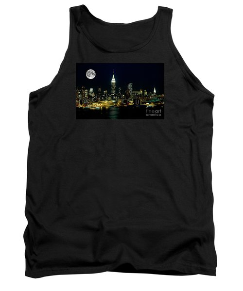Full Moon Rising - New York City Tank Top by Anthony Sacco