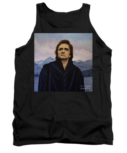 Johnny Cash Painting Tank Top by Paul Meijering