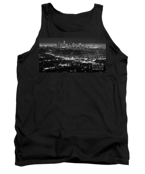 Los Angeles Skyline At Night Monochrome Tank Top by Bob Christopher