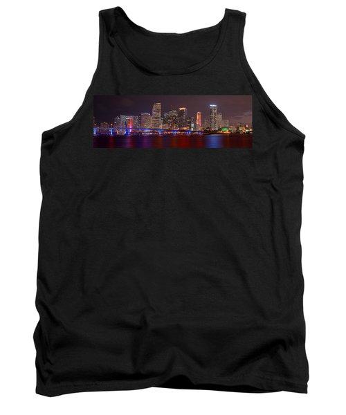 Miami Skyline At Night Panorama Color Tank Top by Jon Holiday