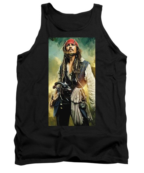 Pirates Of The Caribbean Johnny Depp Artwork 1 Tank Top by Sheraz A