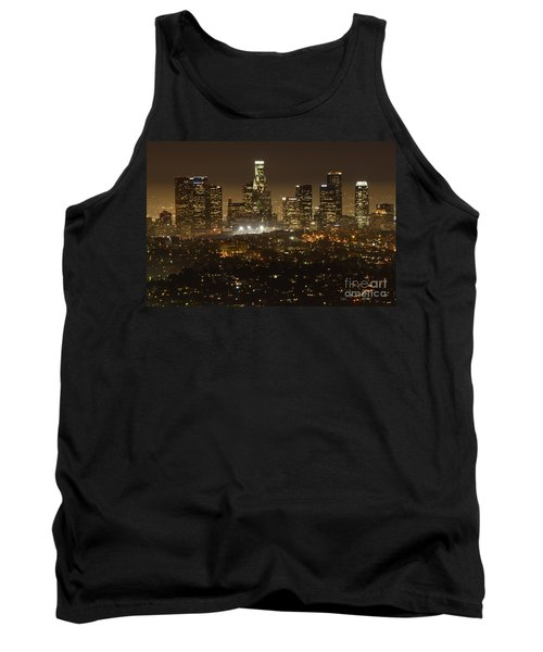 Los Angeles Skyline At Night Tank Top by Bob Christopher