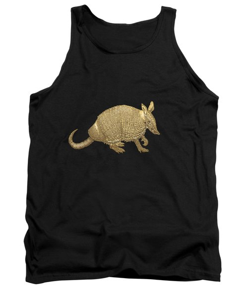 Gold Armadillo On Black Canvas Tank Top by Serge Averbukh