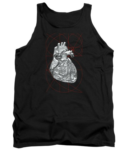 Silver Human Heart On Black Canvas Tank Top by Serge Averbukh