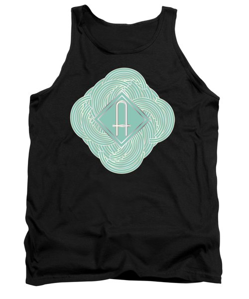 1920s Blue Deco Jazz Swing Monogram ...letter A Tank Top by Cecely Bloom