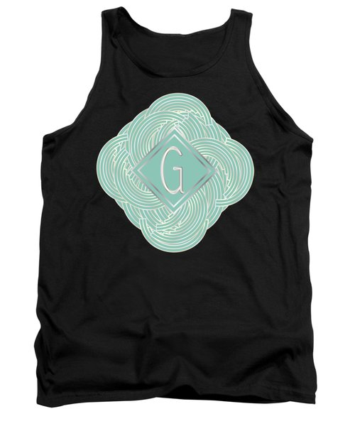 1920s Blue Deco Jazz Swing Monogram ...letter G Tank Top by Cecely Bloom