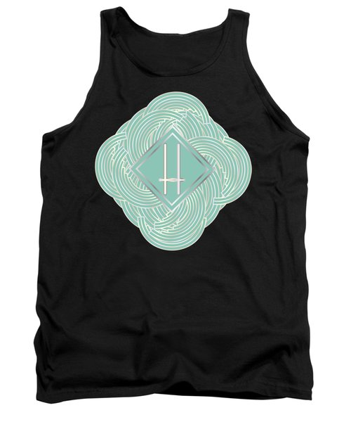 1920s Blue Deco Jazz Swing Monogram ...letter H Tank Top by Cecely Bloom