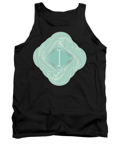 1920s Blue Deco Jazz Swing Monogram ...letter I Tank Top by Cecely Bloom
