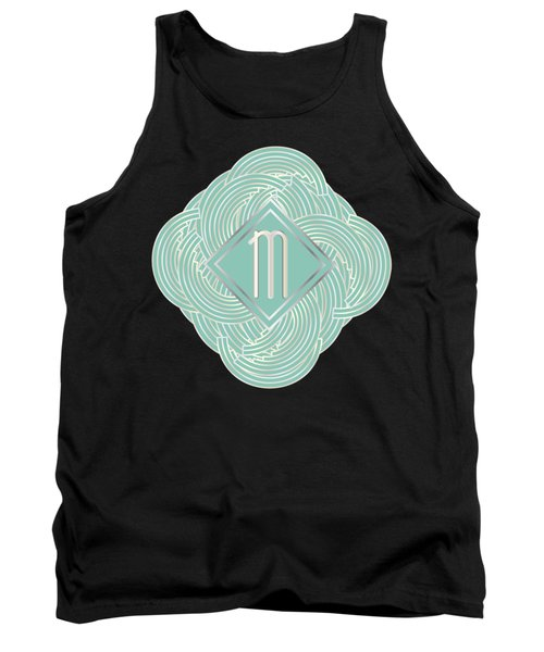 1920s Blue Deco Jazz Swing Monogram ...letter M Tank Top by Cecely Bloom