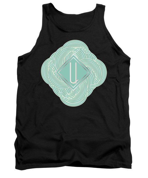 1920s Blue Deco Jazz Swing Monogram ...letter U Tank Top by Cecely Bloom