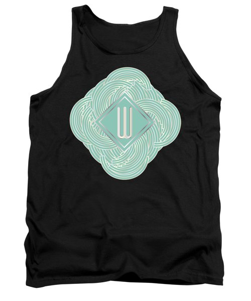 1920s Blue Deco Jazz Swing Monogram ...letter W Tank Top by Cecely Bloom
