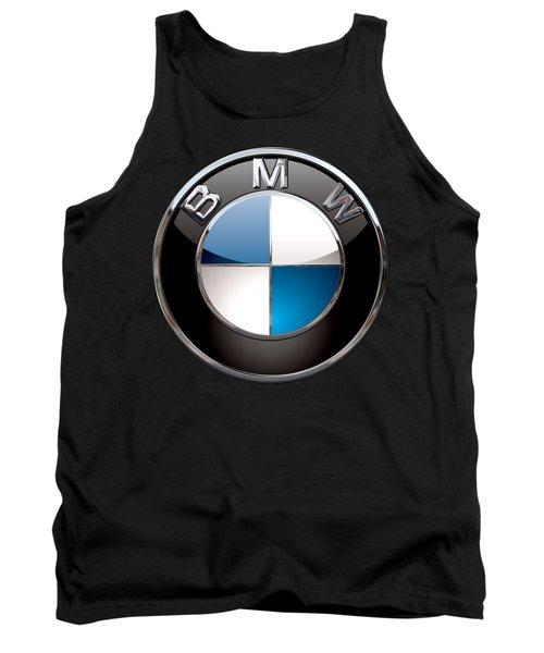 B M W - 3d Badge On Black Tank Top by Serge Averbukh