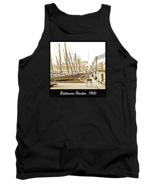 Tank Top featuring the photograph Baltimore Harbor 1900 Vintage Photograph by A Gurmankin