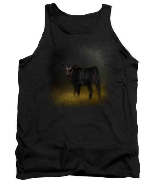 Black Angus Calf In The Moonlight Tank Top by Jai Johnson