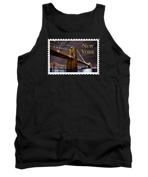Brooklyn Bridge At Night New York City Text Tank Top by Elaine Plesser