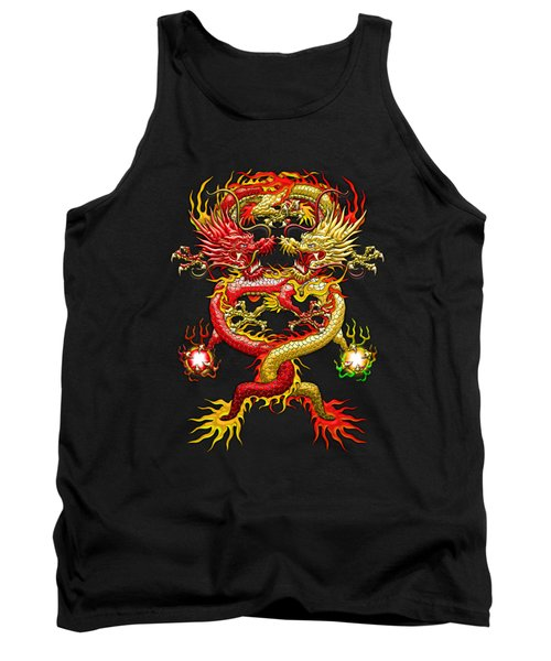Brotherhood Of The Snake - The Red And The Yellow Dragons On Red And Black Leather Tank Top by Serge Averbukh