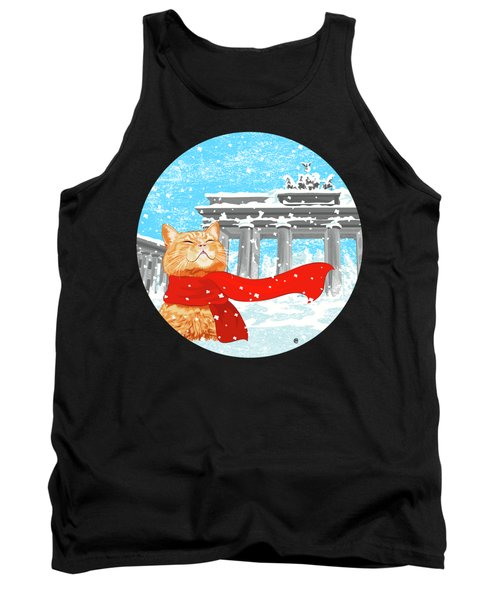 Cat With Scarf Tank Top by Carolina Matthes