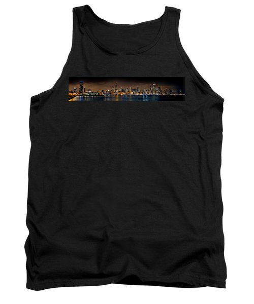 Chicago Skyline At Night Extra Wide Panorama Tank Top by Jon Holiday