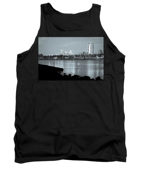 Downtown Tulsa Oklahoma - University Tower View - Black And White Tank Top by Gregory Ballos