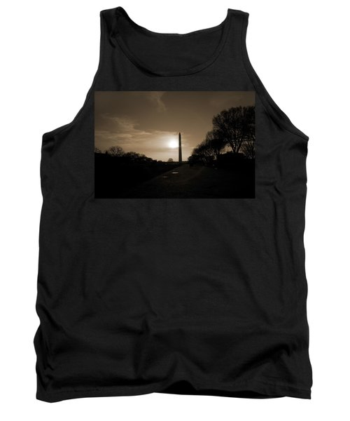 Evening Washington Monument Silhouette Tank Top by Betsy Knapp
