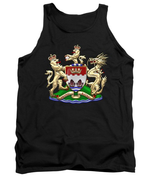 Hong Kong - 1959-1997 Coat Of Arms Over Black Leather  Tank Top by Serge Averbukh