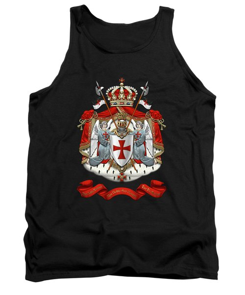 Knights Templar - Coat Of Arms Over Black Velvet Tank Top by Serge Averbukh