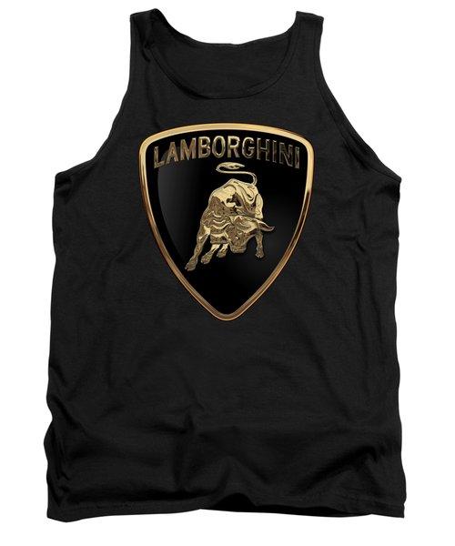 Lamborghini - 3d Badge On Black Tank Top by Serge Averbukh