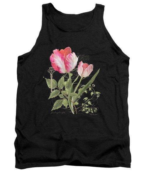 Les Fleurs Magnifiques En Noir - Parrot Tulips Vintage Style Tank Top by Audrey Jeanne Roberts