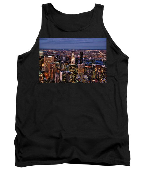 Midtown Skyline At Dusk Tank Top by Randy Aveille