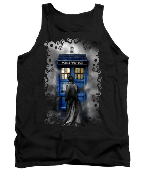 Mysterious Time Traveller With Black Jacket Tank Top by Three Second