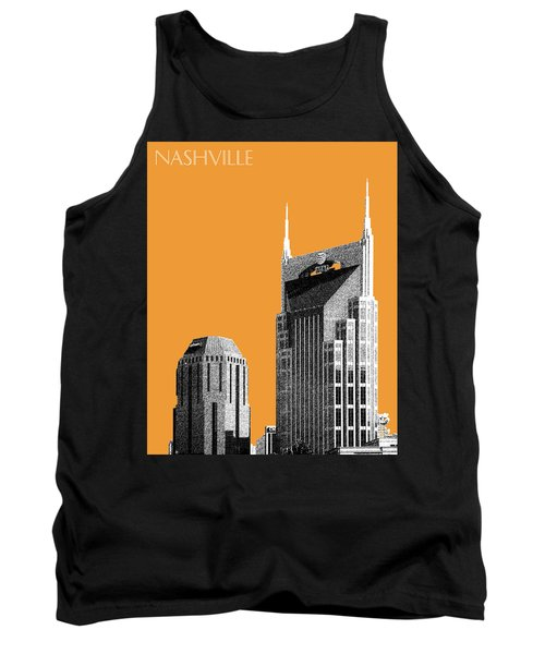 Nashville Skyline At And T Batman Building - Orange Tank Top by DB Artist