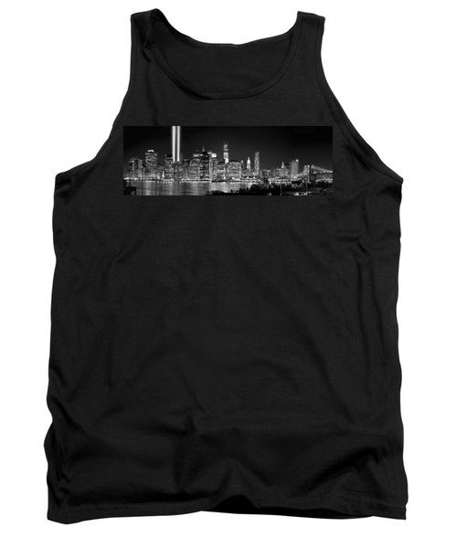 New York City Bw Tribute In Lights And Lower Manhattan At Night Black And White Nyc Tank Top by Jon Holiday