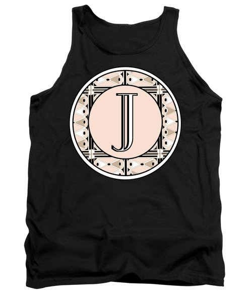 Pink Champagne Deco Monogram  J Tank Top by Cecely Bloom