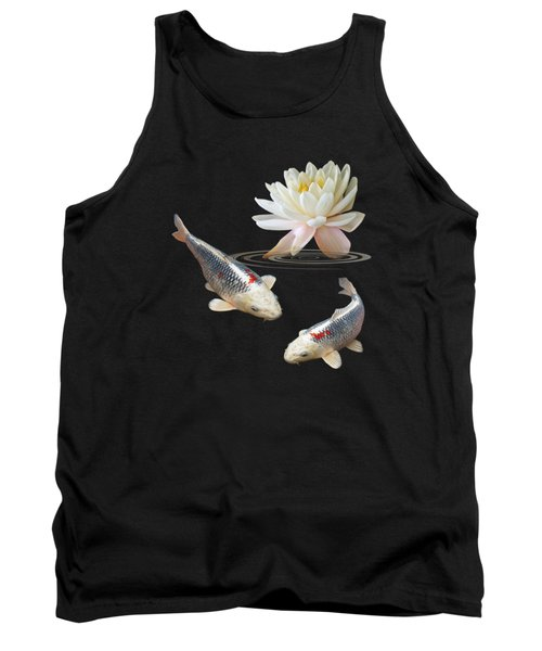 Silver And Red Koi With Water Lily Vertical Tank Top by Gill Billington