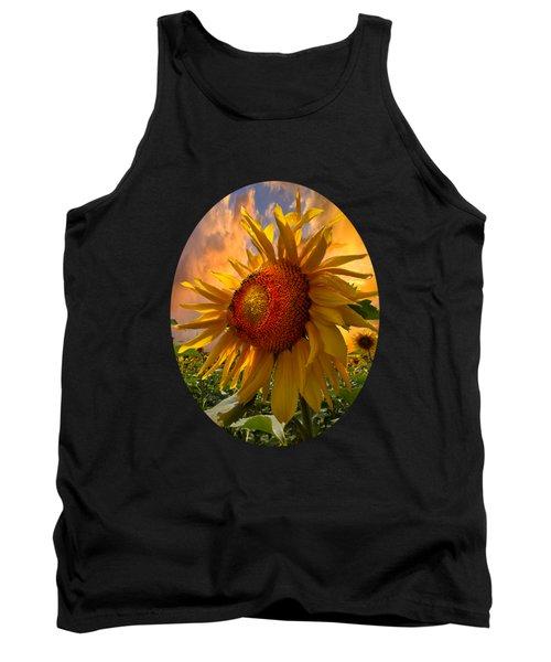 Sunflower Dawn In Oval Tank Top by Debra and Dave Vanderlaan