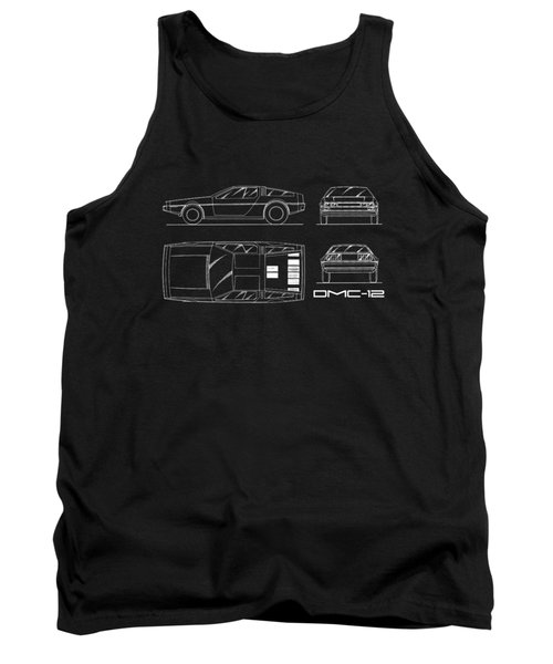 The Delorean Dmc-12 Blueprint Tank Top by Mark Rogan