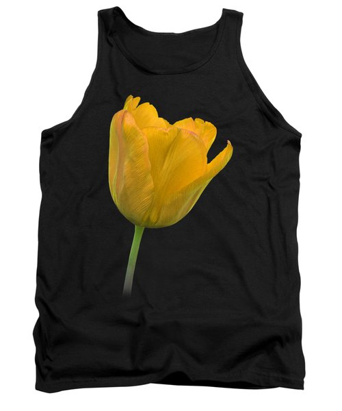 Yellow Tulip Open On Black Tank Top by Gill Billington