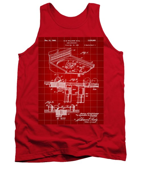 Pinball Machine Patent 1939 - Red Tank Top by Stephen Younts