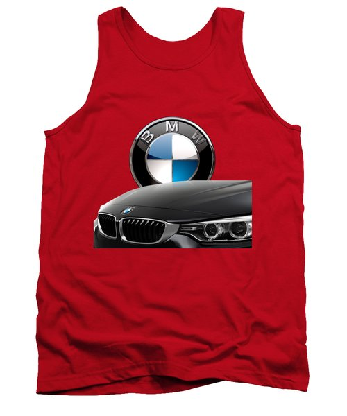 Black B M W - Front Grill Ornament And 3 D Badge On Red Tank Top by Serge Averbukh