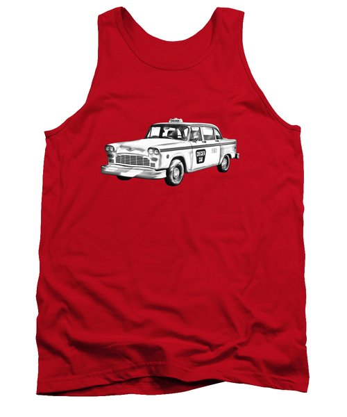 Checkered Taxi Cab Illustrastion Tank Top by Keith Webber Jr