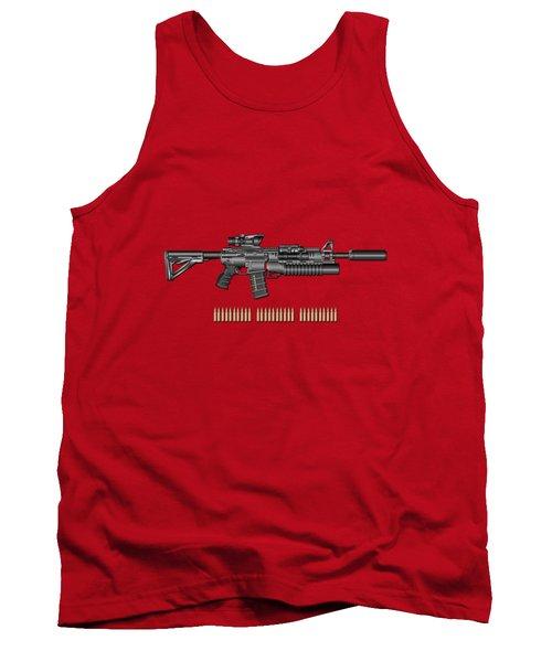 Colt  M 4 A 1  S O P M O D Carbine With 5.56 N A T O Rounds On Red Velvet  Tank Top by Serge Averbukh