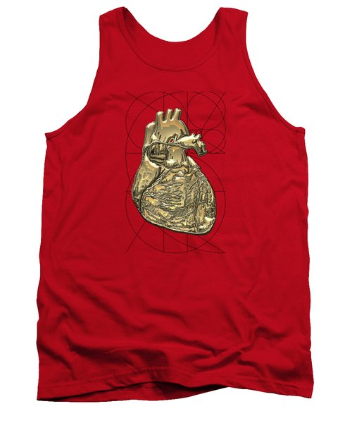 Heart Of Gold - Golden Human Heart On Red Canvas Tank Top by Serge Averbukh