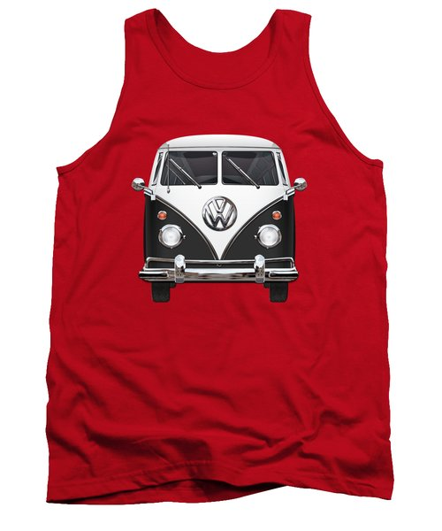 Volkswagen Type 2 - Black And White Volkswagen T 1 Samba Bus On Red  Tank Top by Serge Averbukh