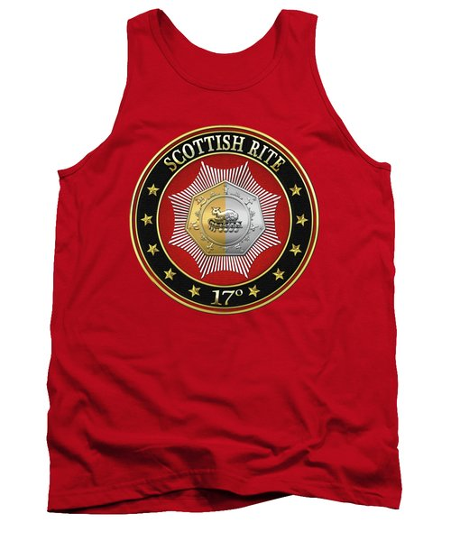 17th Degree - Knight Of The East And West Jewel On Red Leather Tank Top by Serge Averbukh