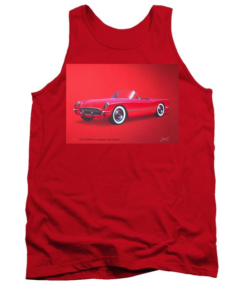 1953 Corvette Classic Vintage Sports Car Automotive Art Tank Top by John Samsen