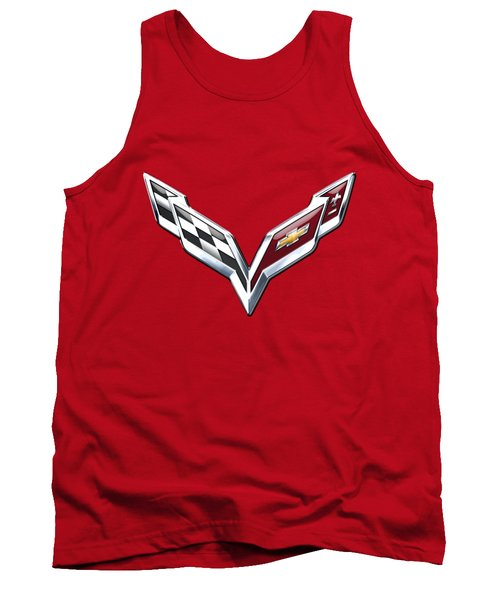 Chevrolet Corvette - 3d Badge On Red Tank Top by Serge Averbukh