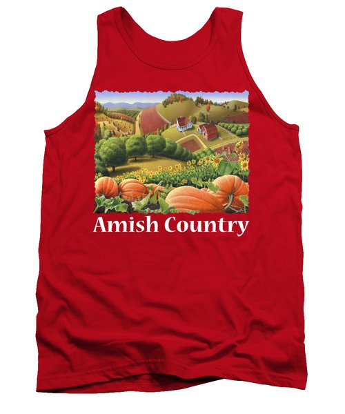 Amish Country T Shirt - Appalachian Pumpkin Patch Country Farm Landscape 2 Tank Top by Walt Curlee