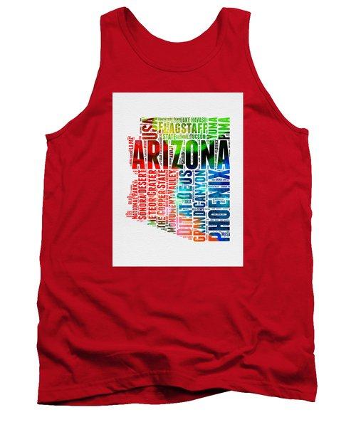 Arizona Watercolor Word Cloud Map  Tank Top by Naxart Studio