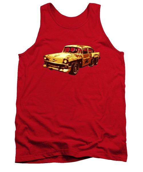 Roadrunner The Snake And The 56 Chevy Rat Rod Tank Top by Chas Sinklier