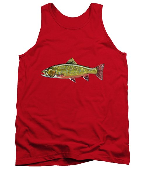 Brook Trout On Red Leather Tank Top by Serge Averbukh